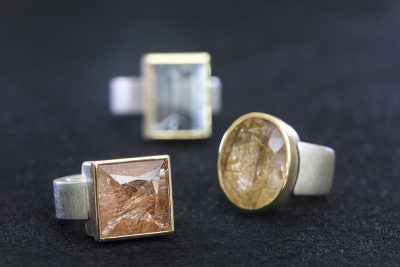 Ringe mit Turmalin-Quarz und Rutil-Quarz