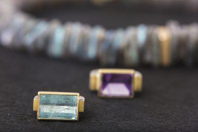 Aquamarin Ring, Amethyst Ring und Labradorit Kette