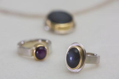 Stern-Rubin Ring, Mondstein Anhänger und Mondstein Ring